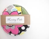 Cloth Nursing Pads--Bold Pop Art Florals--Single Pair--Ready to Ship