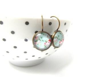 Mint  vintage floral Earrings , drop Earrings , flower earrings , gift for her, Bridesmaid Gift