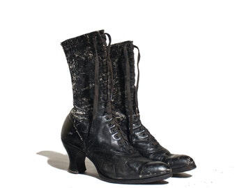Antique Boots Black Leather Brogue Granny Boots Distressed Display Booties