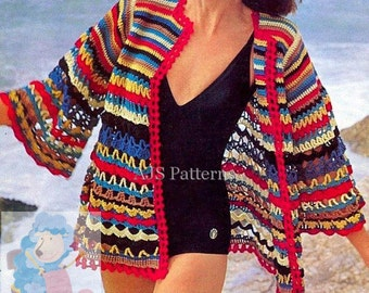 PDF Crochet Pattern for a Retro Styled Beach Cover Up - Instant Download