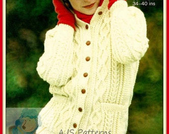 PDF Knitting Pattern for a Ladies Long Line Cabled Aran Jacket or Coat - Instant Download