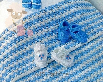 PDF Crochet Pattern for 3 Styles of Baby Bootees & Shoes + Chunky Knit Pram Rug - Instant Download