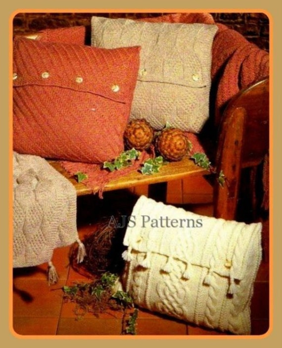 PDF Knitting Pattern For Cottage Chic Aran Cushions & Sofa
