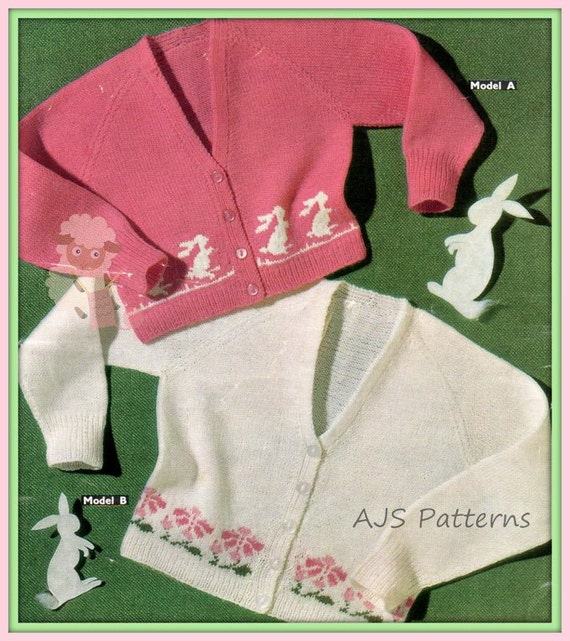 Rabbit Sweater Knitting Pattern : Pdf knitting pattern for girls flowers rabbit motif