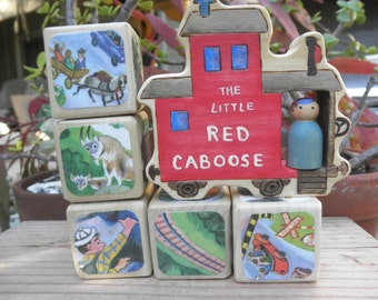 STORY BLOCKS=Little Red Caboose Wood Toy –Little Peg Doll Boy
