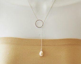 SALE - Lariat Necklace, Pearl Lariat, Lariat Necklace Charm, Silver Circle and pearl Lariat, Gift for her