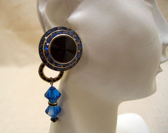 Over The Top Convertible Blue Rhinestone Clip On Earrings