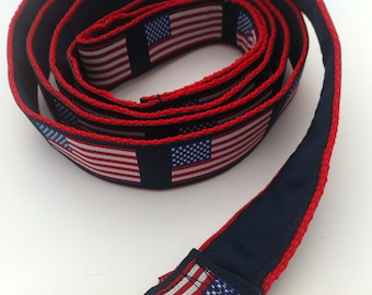 American Flag Leash Lined in Navy