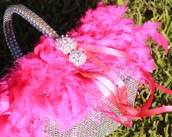 Feather and Bling Flower Girl Basket