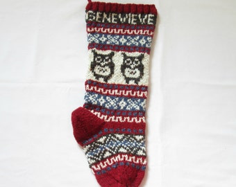 Knit Owl Christmas Stocking Personalized (made to order) Fair Isle Xmas Knitted Holiday Xmas Stocking Will Ship in 2016