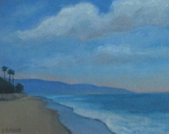"Sale Santa Barbara Original Oil Painting California Modern Impressionist Butterfly Beach  Clouds Painting 8x10""Canvas Jennifer Boswell"