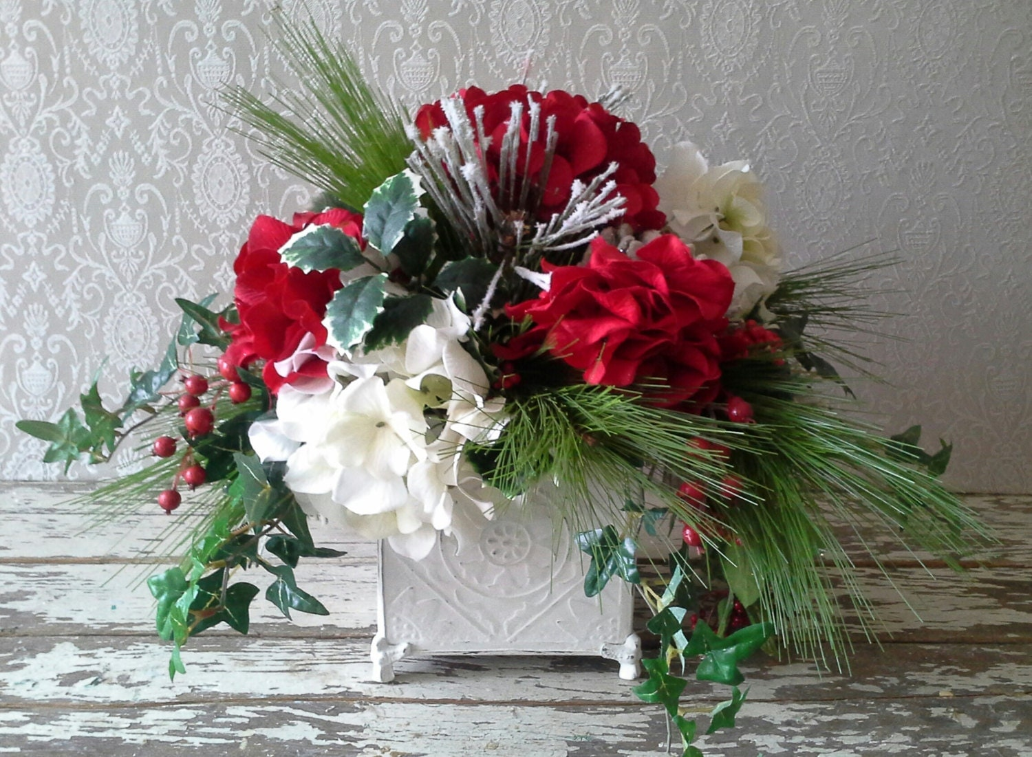 SALE Christmas Flower Arrangement Holiday by SavannahsCottage