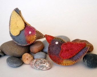 Colorful FELTED LOVE BIRDS eco friendly pure merino wool handmade unique