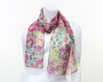 field of flowers watercolor pastel floral whisper soft narrow silk print scarf