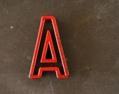 "Vintage Industrial Letter ""A"" Black with Red and Green Paint, 2"" tall (c.1940s) - Monogram Display, Shadow Box Letter, Art Supply"