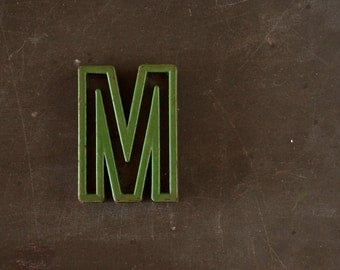 "Vintage Industrial Letter ""M"" Black with Green and Red Paint, 2"" tall (c.1940s) - Monogram Display, Shadow Box Letter, Art Supply"