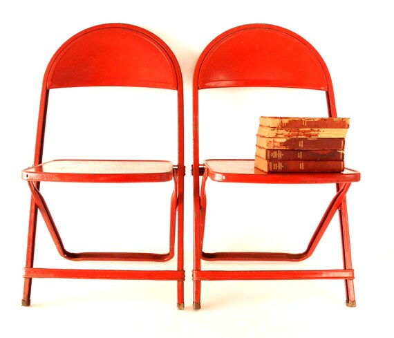 vintage red metal folding chair in red child size chair qty 1 c