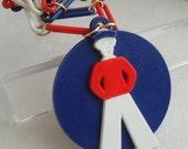 Vintage c1960s Kitchy Huge Plastic Sailor Man Pendant Necklace, So COOL!
