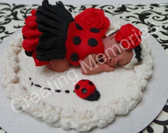 LadyBug Princess. Fondant CakeTopper/Fondant Baby/ladybug/ Baby Ladybug/  Ladybug/