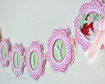 Girl's Berry Sweet Strawberry Birthday banner,  Special Occasion, name banner, nursery decor, high chair banner, photo prop