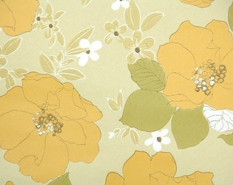 Retro Wallpaper by the Yard 70s Vintage Wallpaper - 1970s Golden Yellow Magnolia Blossoms with Little White Flowers