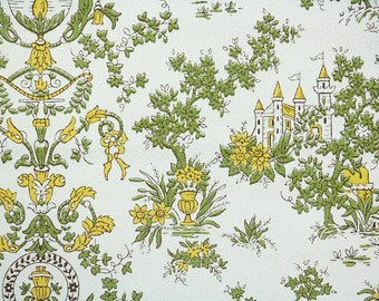 Vintage Wallpaper by the Yard 70s Retro Wallpaper - 1970s Yellow and Green Fairy Tale Castle on White