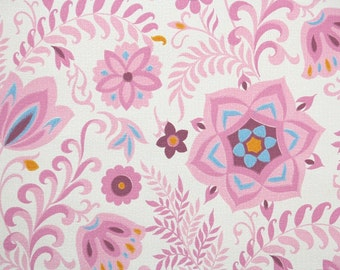 Retro Wallpaper by the Yard 60s Vintage Wallpaper - 1960s Pink Blue and Orange Floral on White