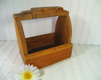 Vintage Primitive HandMade Wooden Shoe Shine Tool Box - Rustic Wood Remnants Artist Supplies Carrier Tote - Antique Bottle, Vase, Jug Holder