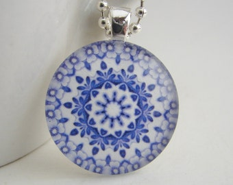Blue Chintz Glass Tile Pendant with Free Necklace
