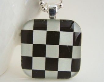 Checks Glass Tile Pendant with Free Necklace