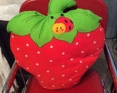 Vintage pillow strawberry shortcake childs bed linen ladybug pillow