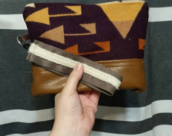Authentic wool arrows wristlet Medium