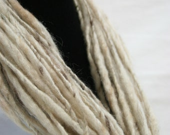 Wool Fiber Art Necklace Cowl Statement Accessory 27g 1 oz 28 in OOAK Ready to Ship International - Creamy Brown