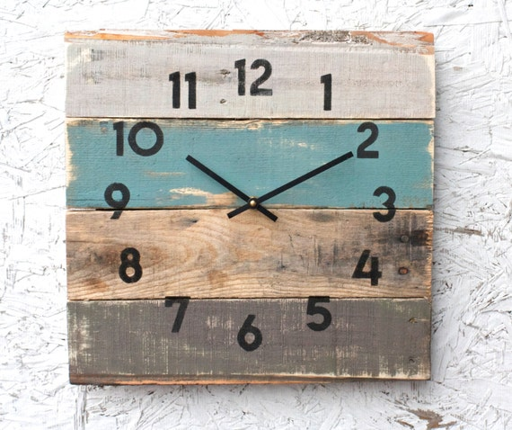 Rustic Beach House Decor Coastal Theme Reclaimed Wood Clock