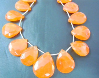 Carnelian Briolette Faceted Pear Drops Gemstone  AAA Quality 8'' size 10x15mm to 21x26mm approx Wholesale PRice