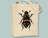 Orange and Black Vintage Beetle Bug illustration Canvas Tote -- Selection of  sizes available