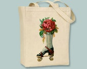 Steampunk Rollerskate with Roses Vintage lllustration Canvas Tote - Selection of  sizes available