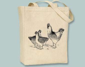 Fantastic Vintage Chickens Illustration on a Canvas Tote - Selection of  sizes available