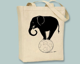 Fun Elephant on Ball Vintage illustration on Canvas Tote -- Selection of sizes and colors available