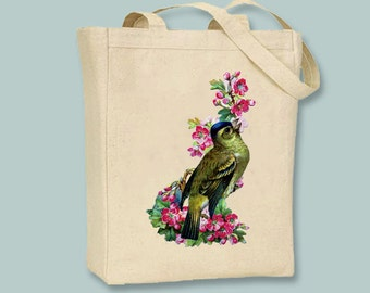 Gold bird in Pink Blossoms Vintage Illustration transferred onto Canvas Tote -- Selection of sizes available