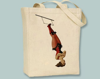 Vintage Trapeze Girl Acrobat Circus Performer Canvas  tote - Selection of sizes available