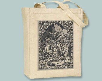 Witches and Demons at  Sabbat BLACK or NATURAL canvas tote, Any Color  image - selection of sizes