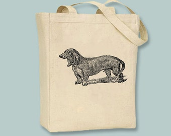 Vintage Dachshund Dog illustration on Canvas Tote -- Selection of sizes available