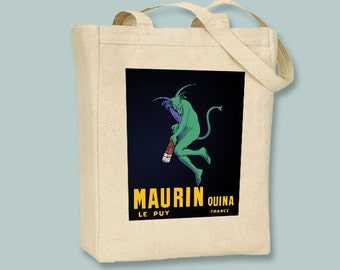 Vintage Absinthe Maurin Ad on Natural or Black Tote  -Selection of sizes colors available