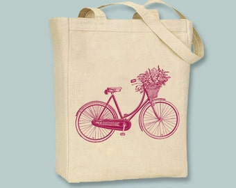 Bicycle with Flower Basket canvas tote with shoulder strap - Selection of  sizes ANY IMAGE COLOR