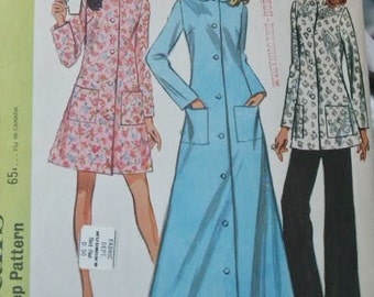 Vintage 1969 McCall's Bathrobe Lounging Robe or Pajamas with Collar Front Button Long or Short & Pants  2173 Sewing  Pattern Size 12 Bust 34