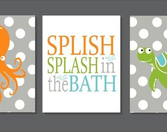 Bathroom Wall Art, Octopus and Turtle, Typography, Splish Splash, Bathroom decor- Set of three prints