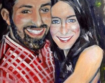 David and Nicole In Love Original Oil Painting Great Gift Painting of your loved one, Inspired from your favorite photo NFS Example 16 x 20