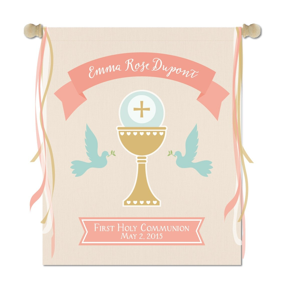 Holy First Communion Ceremony Banner Printed On Finished
