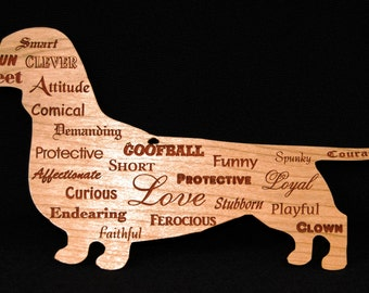 Dachshund Ornament, Wall Sign, Doxie, Sausage Dog, Weiner Dog, Wiener Dog, Personality Traits Christmas Ornament